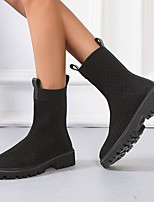 cheap -Women's Boots Round Toe Rubber PU Solid Colored Black