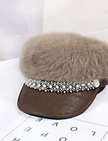cheap -Women's Beret Hat Party Wedding Street Pure Color Black Gray Hat Khaki Fall Winter Newsboy Cap