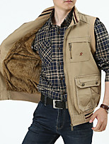 cheap -Men's Vest Gilet Street Sport Daily Fall Winter Short Coat Regular Fit Warm Breathable Casual Sports Jacket Sleeveless Plain Quilted Full Zip Army Green Khaki