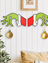 cheap -cross-border new christmas decoration grinch gesture pendant christmas wooden door hanging house number christmas home decorations