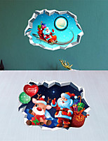 cheap -2pcs 3D Lovely Christmas stickers Santa Sends gifts wall stickers 25*70cm