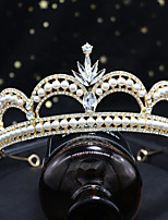 cheap -Crown Headdress Baroque Adult Alloy Pearl Crown Headdress Bride Wedding Headdress
