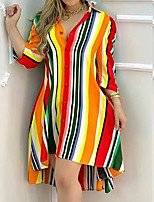 cheap -Women's Shirt Dress Knee Length Dress Rainbow Half Sleeve Color Block Plus High Low Button Fall Shirt Collar Casual 2021 S M L XL