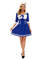 cheap -Sailor / Navy Cosplay Costume Adults' Women's Halloween Halloween Halloween Festival / Holiday Terylene Blue Women's Easy Carnival Costumes Solid Color / Dress / Hat