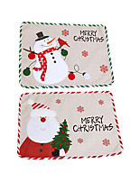 cheap -Christmas Old Man Snowman Placemat Creative Embroidery Potholder Cloth Hotel Table Mat Christmas Decoration