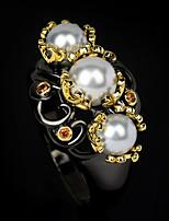 cheap -Women Ring Pearl Chunky Gold / Black Brass Floral Theme Elegant Vintage Baroque 1pc / Women's