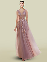 cheap -A-Line Empire Elegant Engagement Formal Evening Dress V Neck Sleeveless Floor Length Lace Tulle with Pleats Appliques 2021
