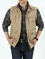 cheap -Men's Vest Gilet Street Sport Daily Fall Winter Regular Coat Regular Fit Warm Breathable Casual Sports Jacket Sleeveless Plain Full Zip Pocket Army Green Khaki