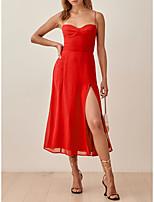 cheap -A-Line Minimalist Sexy Homecoming Party Wear Dress Spaghetti Strap Sleeveless Tea Length Stretch Chiffon with Split 2021