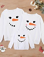 cheap -Christmas Tops Family Look Cotton Abstract Snowman Athleisure Print White Long Sleeve Basic Matching Outfits / Fall / Spring / Cute