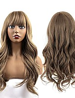 cheap -Long Wavy Wigs with Bangs Matt Dark Blonde Cheap Long Wigs for Women Heat Resistant Synthetic Wigs for Daily Party Cosplay Wear 22 Inch Synthetic Wig