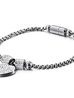 cheap -Women's Clear Cubic Zirconia Bracelet Geometrical Heart Stylish Simple Steel Bracelet Jewelry Rose Gold / Silver / Gold For Daily Promise