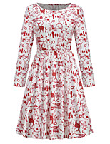 cheap -Santa Suit Dress Masquerade Christmas Dress Adults' Women's Vintage Christmas Christmas New Year Christmas Carnival Festival / Holiday Spandex Terylene Red Women's Easy Carnival Costumes Graphic