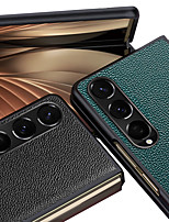 cheap -Phone Case For Samsung Galaxy Back Cover Samsung Galaxy Z Fold3 Shockproof Dustproof Solid Colored Genuine Leather