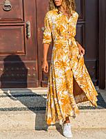 cheap -Women's A Line Dress Maxi long Dress Blue Green Orange Long Sleeve Print Split Print Fall Spring V Neck Casual Regular Fit 2021 S M L XL