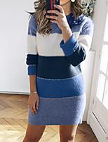 cheap -Women's Sweater Jumper Dress Short Mini Dress Blue Green Red Brown Long Sleeve Color Block Patchwork Fall Winter Round Neck Casual 2021 S M L XL XXL 3XL
