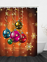 cheap -Christmas Shower Curtain Bathroom Decoration Waterproof Contains With Hook Ball Tree