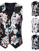 cheap -Men's Vest Gilet Daily Spring Summer Short Coat Regular Fit Quick Dry Lightweight Breathable Casual Jacket Sleeveless Floral Plants Pocket Print White Black Navy Blue