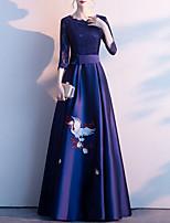 cheap -A-Line Elegant Floral Prom Formal Evening Dress Jewel Neck 3/4 Length Sleeve Floor Length Satin with Sash / Ribbon Pleats Appliques 2021
