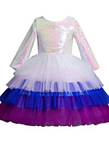 cheap -Kids Little Girls' Dress Sequin Party Special Occasion Mesh Blushing Pink White Above Knee Long Sleeve Princess Cute Dresses Children's Day Fall Winter Slim 3-10 Years / Spring / Summer