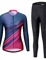 cheap -21Grams Women's Long Sleeve Cycling Jersey with Tights Spandex Blue+Pink Bike Quick Dry Moisture Wicking Sports Graphic Mountain Bike MTB Road Bike Cycling Clothing Apparel / Stretchy / Athletic