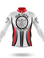 cheap -21Grams Men's Long Sleeve Cycling Jersey Spandex Polyester White Stripes 3D Funny Bike Top Mountain Bike MTB Road Bike Cycling Quick Dry Moisture Wicking Breathable Sports Clothing Apparel / Stretchy