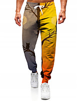 cheap -Men's Casual Designer Big and Tall Halloween Breathable Sports Jogger Pants Sweatpants Trousers Daily Fitness Pants Graphic Prints Owl Moon Full Length Drawstring Elastic Waist Yellow / Elasticity