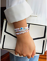 cheap -4pcs Women's Bead Bracelet Beads Eyes Fashion Holiday Casual / Sporty Sweet Boho Glass Bracelet Jewelry White and Blue For Gift Daily Holiday Prom Festival