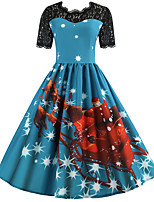 cheap -Santa Suit Audrey Hepburn Dress Swing Dress Adults' Women's Vintage Festival Christmas New Year Festival / Holiday Lace Terylene Blue / Fuchsia / Ink Blue Women's Easy Carnival Costumes Snowflake