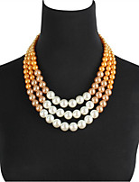 cheap -Necklace Women's Layered Pearl Vintage Cool Gray Coffee 46+8 cm Necklace Jewelry 1pc for Gift Daily Work Festival Round