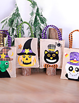 cheap -Fashionable Canvas Shoulder storage Bag Halloween gym reusable portable grocery shopping cloth book tote 30*15 cm