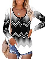 cheap -Women's Geometric Painting T shirt Striped Color Block Long Sleeve Button Print Round Neck Basic Tops Regular Fit Black / 3D Print