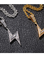cheap -Pendant Necklace Necklace Men's Women's Geometrical Cubic Zirconia White Stainless Steel Zircon Lightning Simple Fashion Punk Trendy Cute Cool Silver Gold 60 cm Necklace Jewelry 1pc for Street School
