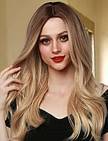 cheap -long blonde wig for women natural wavy synthetic ombre wigs middle part heat resistant fiber hair for daily party use cosplay (brown gradient blonde)