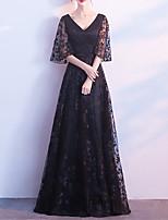 cheap -A-Line Minimalist Elegant Prom Formal Evening Dress V Neck Half Sleeve Floor Length Tulle with Sash / Ribbon Pattern / Print 2021