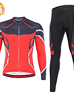 cheap -21Grams Men's Long Sleeve Cycling Jersey with Tights Winter Fleece Spandex Red Blue Green Stripes Bike Quick Dry Moisture Wicking Sports Stripes Mountain Bike MTB Road Bike Cycling Clothing Apparel