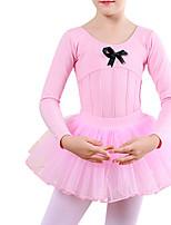 cheap -Ballet Leotard Gymnastics Leotards Girls' Kids Skirt Leotard Dancewear Spandex Cotton High Elasticity Quick Dry Breathable Sweat wicking Solid Color Long Sleeve Training Competition Ballet Dance
