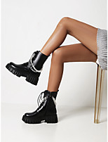 cheap -Women's Boots Pumps Round Toe Booties Ankle Boots Daily Outdoor Faux Leather Pearl Solid Colored Black / Booties / Ankle Boots
