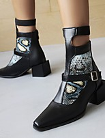 cheap -Women's Boots Chunky Heel Square Toe Booties Ankle Boots Daily PU Color Block Blue White Black / Booties / Ankle Boots