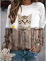 cheap -Women's Sweatshirt Pullover Cat 3D Animal Print Daily Sports 3D Print Active Streetwear Hoodies Sweatshirts  Khaki