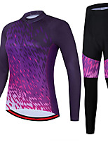cheap -21Grams Women's Long Sleeve Cycling Jersey with Tights Spandex Purple Gradient Bike Quick Dry Moisture Wicking Sports Gradient Mountain Bike MTB Road Bike Cycling Clothing Apparel / Stretchy