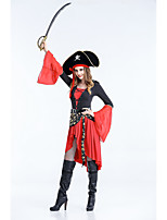 cheap -Pirates of the Caribbean Dress Cosplay Costume Adults' Women's Halloween Halloween Halloween Festival / Holiday Polyster Red+Black Women's Easy Carnival Costumes Solid Color / Hat / Waist Belt