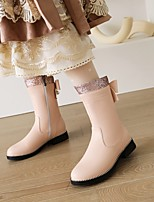 cheap -Women's Boots Chunky Heel Booties Ankle Boots Faux Leather Pink White Black / Mid-Calf Boots