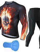 cheap -21Grams Men's Long Sleeve Cycling Jersey with Tights Spandex Polyester Black / Red Skull Funny Bike Clothing Suit 3D Pad Quick Dry Moisture Wicking Breathable Back Pocket Sports Patterned Mountain