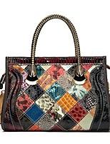 cheap -Women's Bags Nappa Leather Cowhide Top Handle Bag Zipper Shopping Daily Sequins Retro Handbags Rainbow