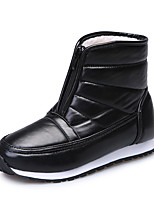 cheap -Women's Boots Flat Heel Round Toe PU Solid Colored Burgundy Black Coffee
