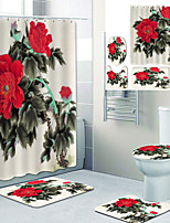 cheap -Beautiful Peony Printed Bathroom home Decoration Bathroom shower curtain lining waterproof shower curtain with 12 hooks floor mats and four-piece toilet mats.