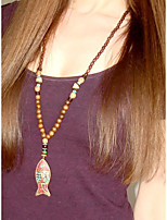cheap -Pendant Necklace Beaded Necklace Long Necklace Women's Wooden Fish Vintage Folk Style Boho Dark Brown 80 cm Necklace Jewelry 1pc for Street Gift Carnival Prom Festival