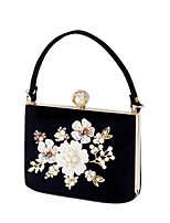 cheap -Women's Bags Polyester Alloy Evening Bag Crystals Flower Floral Print Pearl Party Wedding Evening Bag Wedding Bags 2021 Black