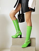 cheap -Women's Boots Chunky Heel Round Toe Mid Calf Boots Daily Outdoor Faux Leather Imitation Pearl Solid Colored Orange / Black Yellow Green / Mid-Calf Boots
